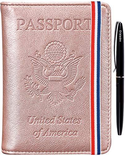 Passport Holder Cover Case - RFID Blocking Anti-theft Leather Passport Wallet Card Case Travel Document Organizer for Women Men with Bonus Pen(Rose gold3)