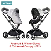 Hot Mom Stroller Winter Kit Winter Protection,Pushchair Gloves, Foot muff, rain Visor, Artifical Fur Trim Protection Cover for The Winter Wind£¨F22£