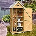 Goplus Outdoor Storage Shed Yard Locker Storage Hutch Wooden Arrow Shed for Garden
