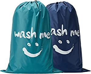 NISHEL Wash Me Laundry Bag 2 Packs, 28×40 inches Rips & Tears Resistant Large Dirty Clothes Storage Bag, Machine Washable, Heavy Duty Laundry Hamper Liner for College Students, Sky Blue & Blue