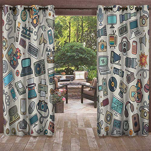 Doodle, Outdoor Curtain Pair, Complation of Various Office Gadgets Recorder Tv Laptop Monitor Tablet Switch Mouse, Fabric by The Yard W84 x L108 Inch Multicolor by Returiy (Image #1)