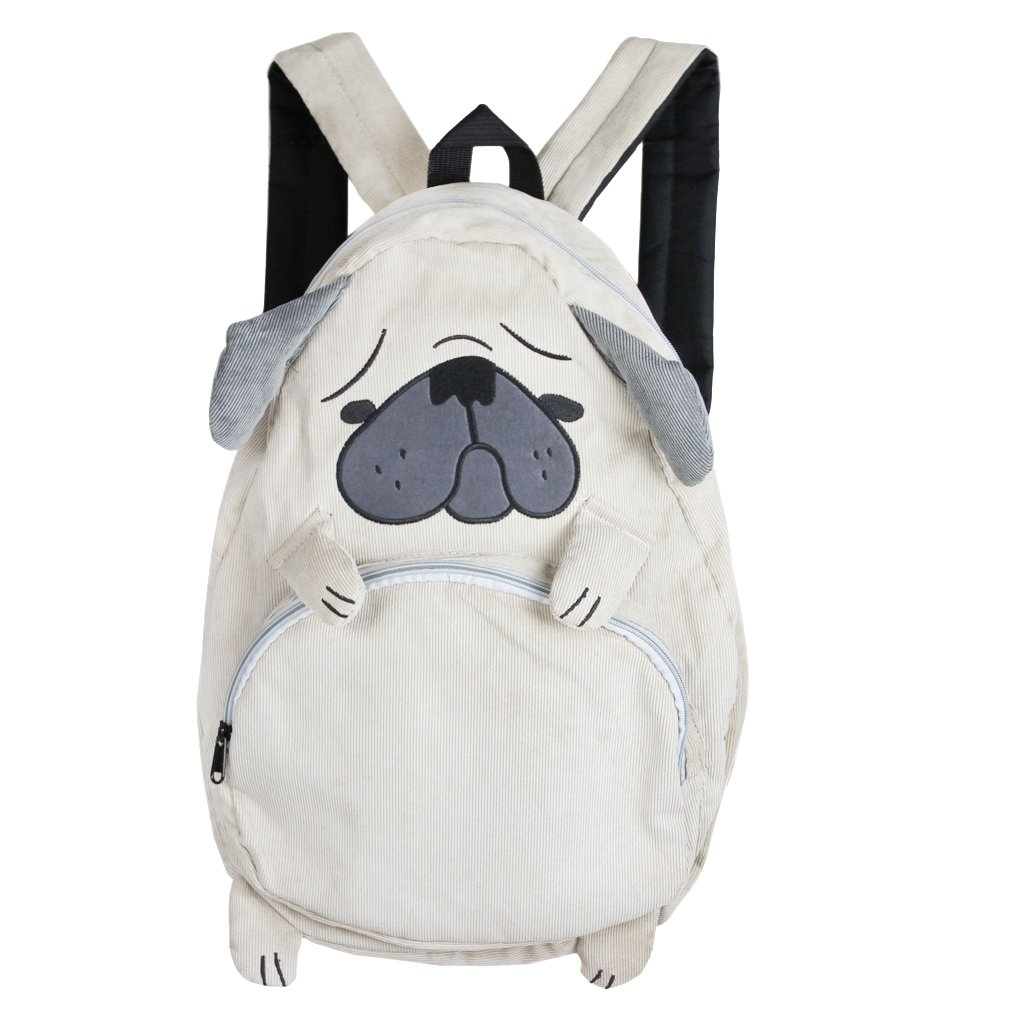 Largeキュートなコーデュロイ漫画バックパック学生スクールBook Campus Bag Satchel Daypack for Girls Teens B073S5F3J9  犬