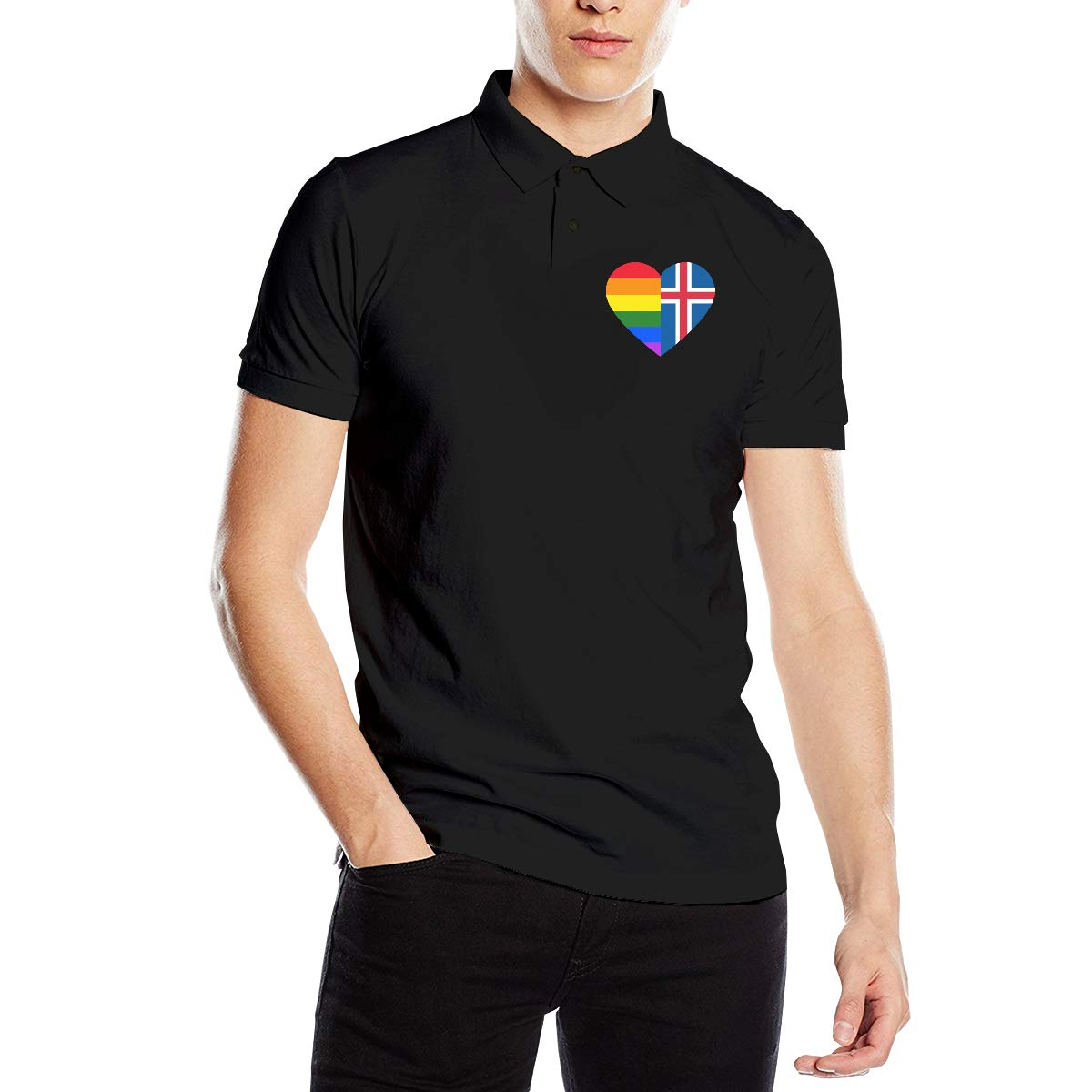 LGBT Rainbow Iceland Flag Heart Mens Short Sleeve Polo T-Shirt T-Shirts for Gym Tops T Shirt