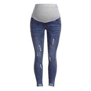 fe5c9fc10ac79 BOLUOYI Spandex Capri Leggings Pregnant Woman Ripped Jeans Maternity Pants  Trousers Nursing Prop Belly Legging Dark