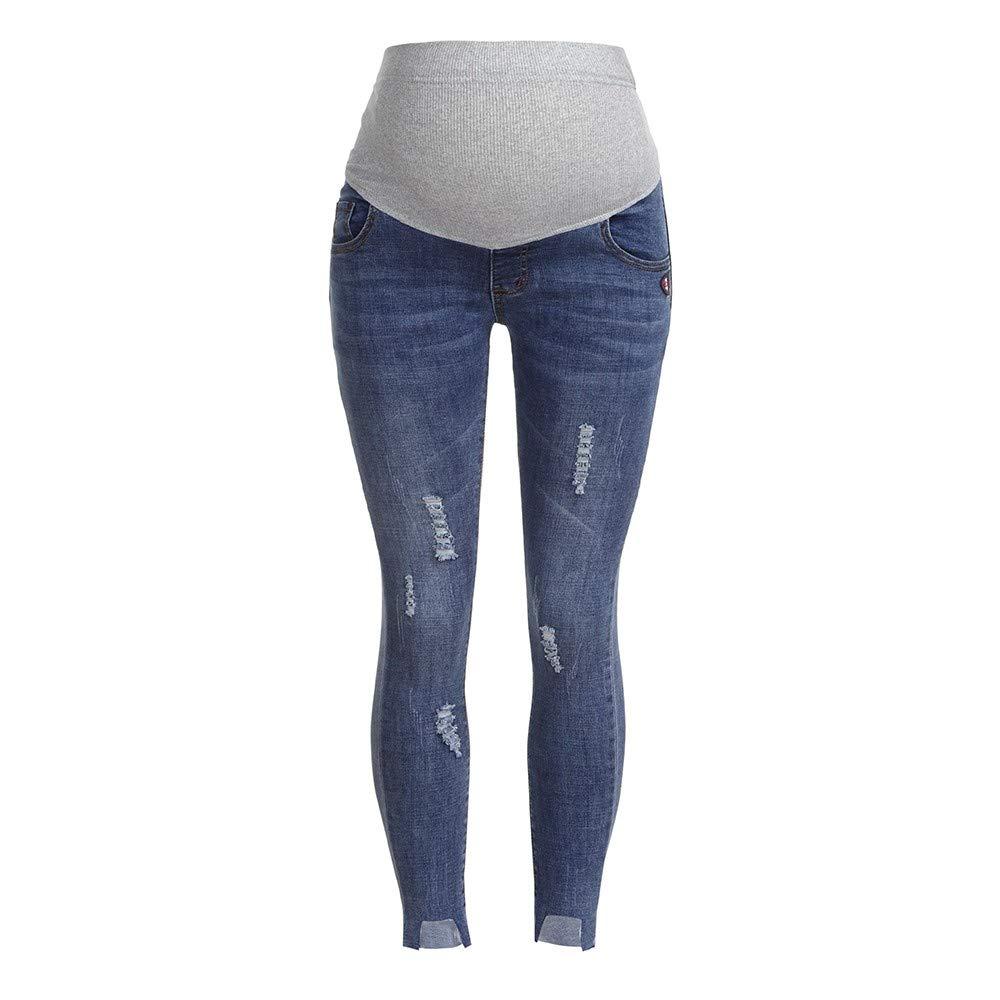 Luoluoluo Leggings Premaman,Jeans Premaman Basico, Super Elastico e Comodo, vestibilità Skinny, Lavaggio Basic - Pantaloni Premaman