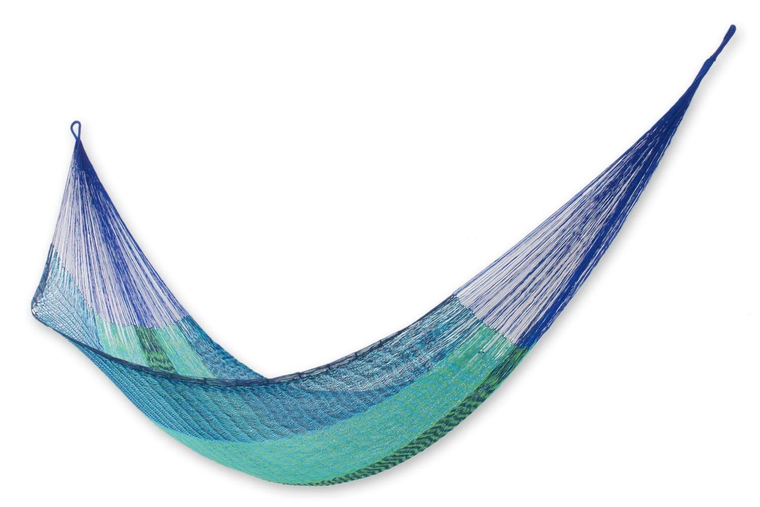 NOVICA Blue and Green Cotton Nylon Rope Mayan Hammock 'Cool Maya' (Double) - Bed size: 78 in. L x 67 in. W; Total length: 158 in. L Authentic: an original NOVICA fair trade product in association with National Geographic. Certified: comes with an official NOVICA Story Card certifying quality & authenticity. - patio-furniture, patio, hammocks - 61a5wLN8NFL -