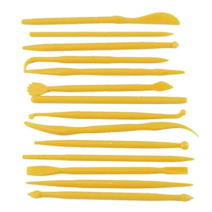 E-dance 14Pcs Plastic Clay Sculpting Wax Carving Pottery Tools Carving Sculpture Shaper Polymer Cake Modeling Tools Yelow