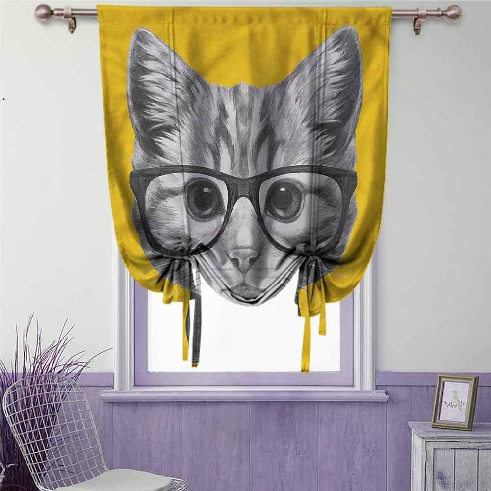 Cortina de animales romanos, para amarrar la habitación pequeña, para bebé, hipster, gato, gatito: Amazon.es: Hogar