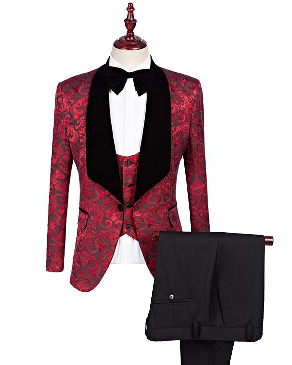 YBang Men's 2 Pieces Suit Blazer Double Breasted Jacket Tuxedo Pants WD071