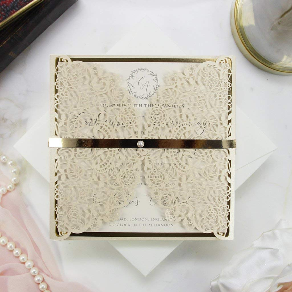 50 Cards Pack Laser Cut Wedding Invitations with Envelopes DIY template Elegant Lace Gold Square floral invitation kit with printable insert!