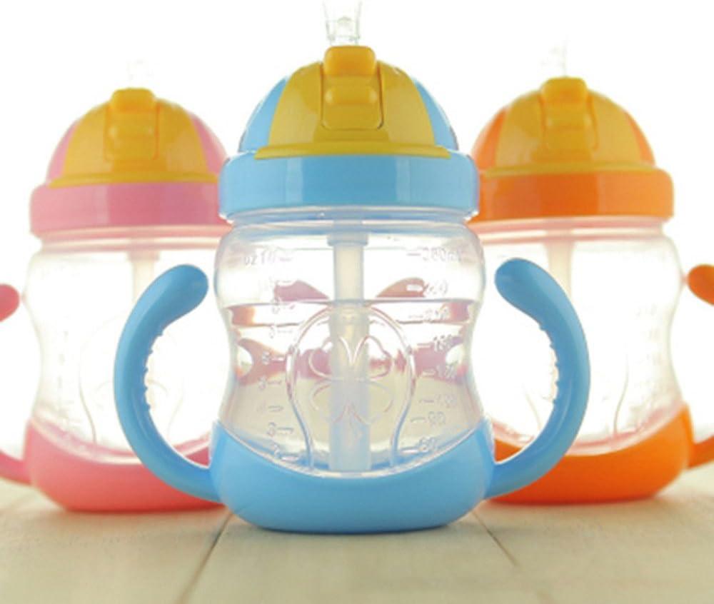 280ml Cute Baby Bottle Drinking Straw Children Kids Learning Silicone Milk Nibbler Feeding Safe Bottle Handle Spout