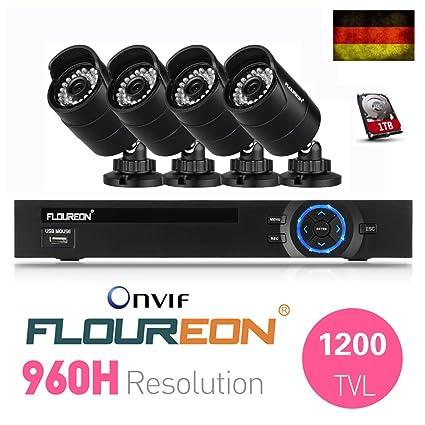FLOUREON Cámaras de Vigilancia Kits (1 X 8CH HDMI 960H DVR Onvif 1080P + 4