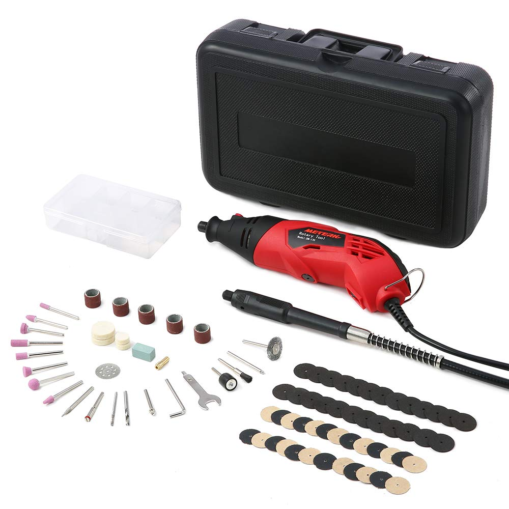 Rotary Tool Set Meterk Electric Grinder with 85pcs 6-Speed Variable Speed Electric Drill Grinding Rotary Tool Kit for Milling Polishing Engraving Sanding Sharpening Carving