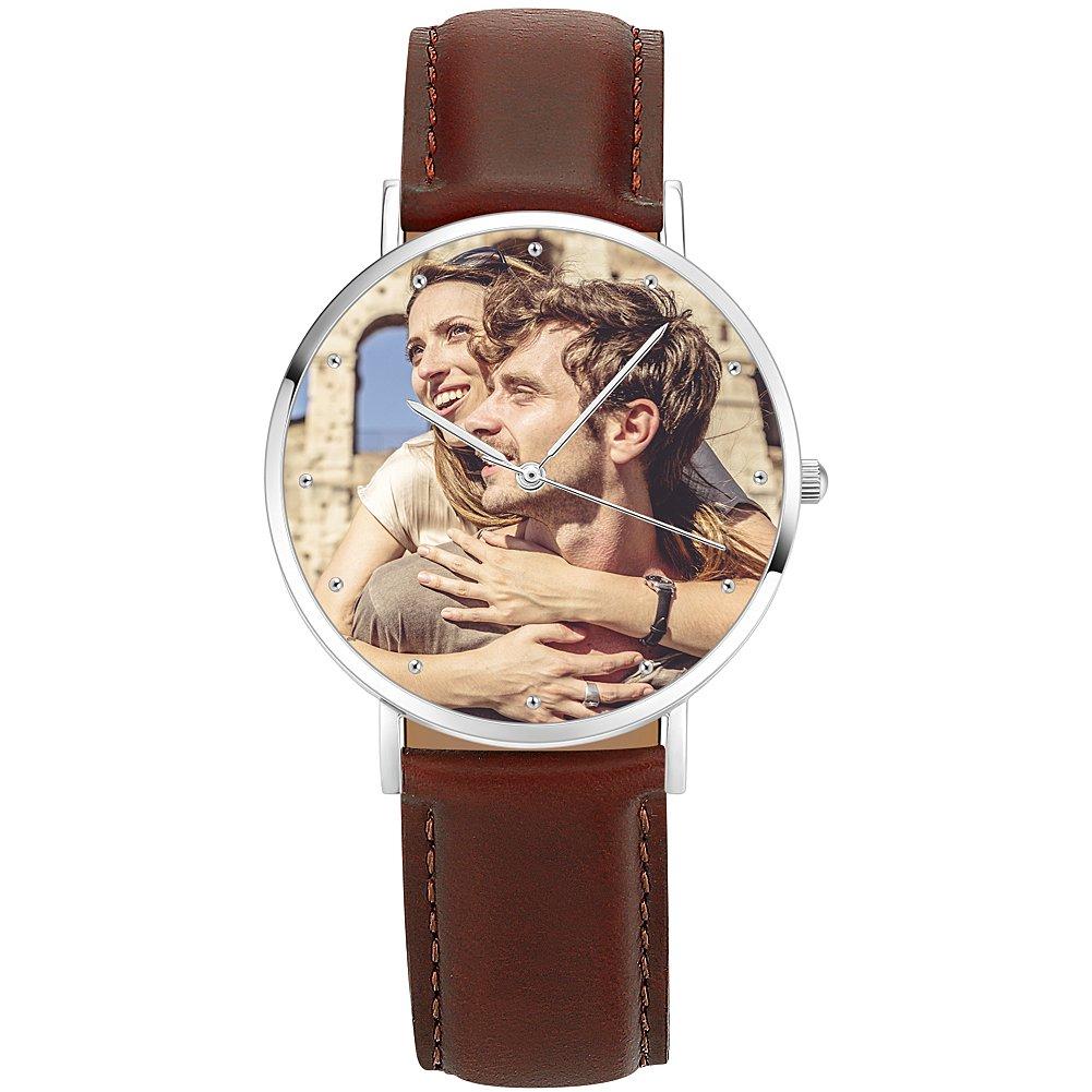 SOUFEEL Custom Photo Watch Personalized Waterproof Wrist Watch Case for Women Men Brown Leather Band 40mm