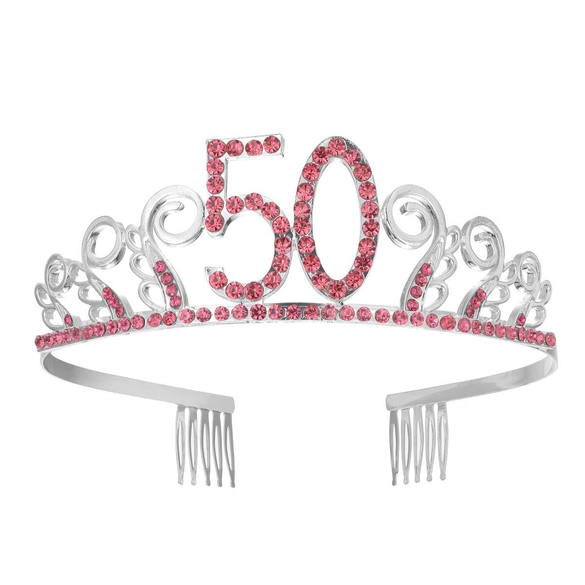 Frcolor 50 ° compleanno cristallo rosso strass tiara regina principessa corone danza partito fascia per le donne 50 ° compleanno festa favore