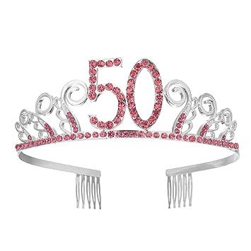 Frcolor 50.o cumpleaños Crystal Rhinestone rojo Tiara reina ...