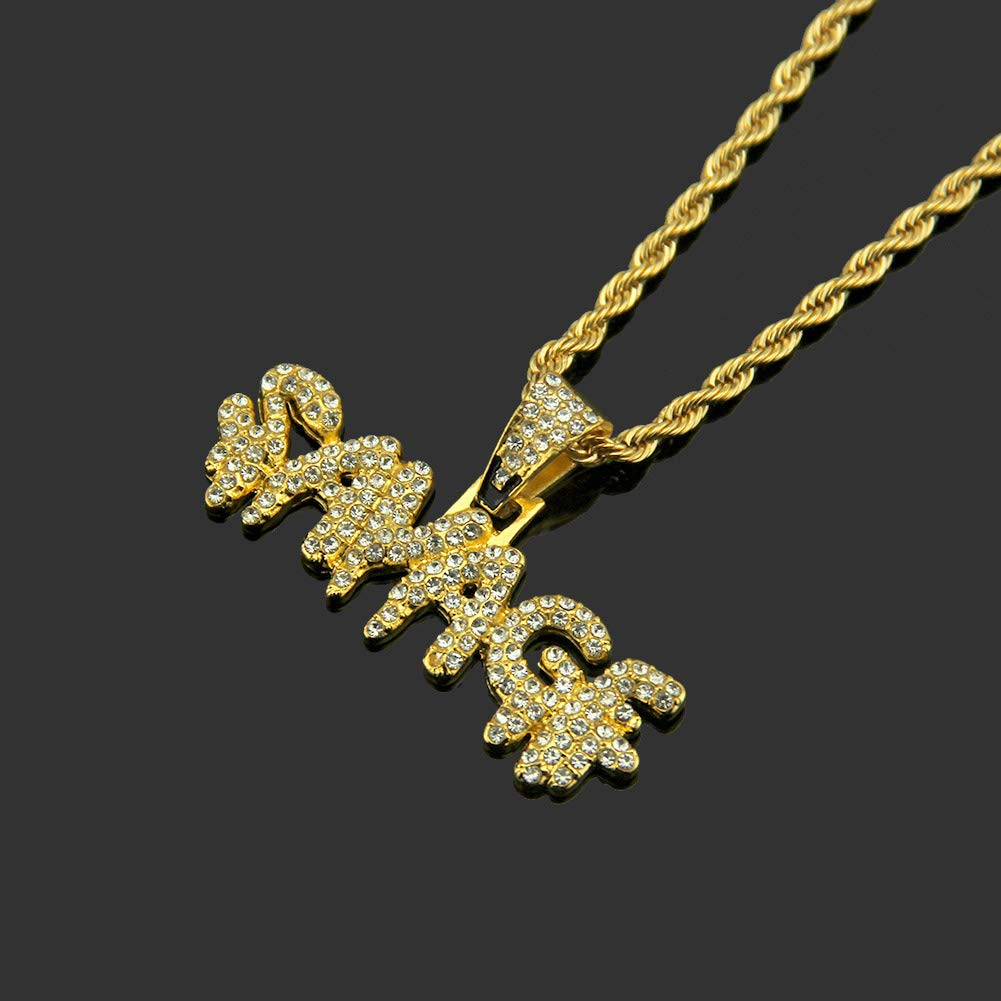 ViewHuge Bling Rhinestone Hip Hop Letter Savage Pendant Rope Chain Necklace