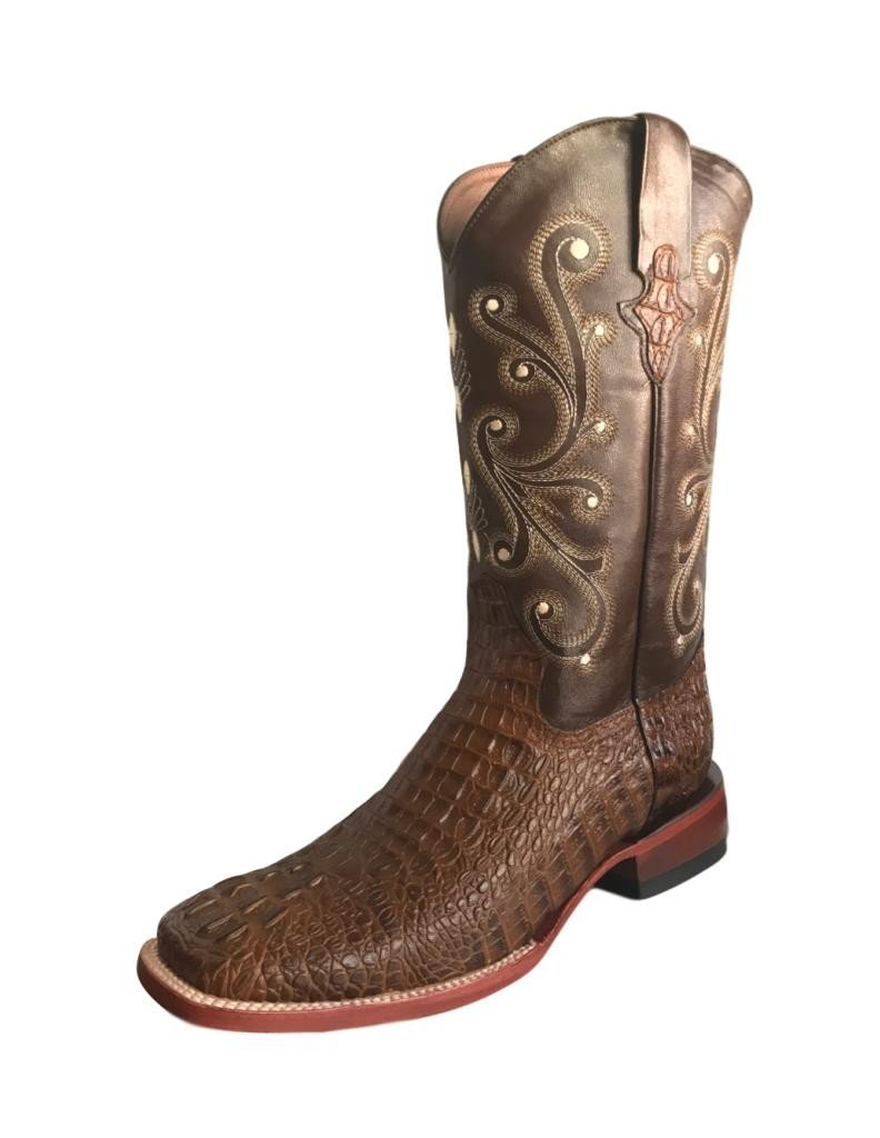 Ferrini Men's Caiman Croc Print Cowboy Boot Wide Square Toe Rust 12 EE US