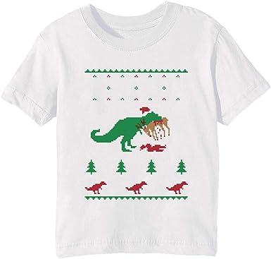Dinosaurio Feo Navidad Suéter - Gracioso Navidad Regalo Niños Unisexo Niño Niña Camiseta Cuello Redondo Blanco Manga Corta Tamaño 2XS Kids Boys Girls T-Shirt XX-Small Size 2XS: Amazon.es: Ropa y accesorios