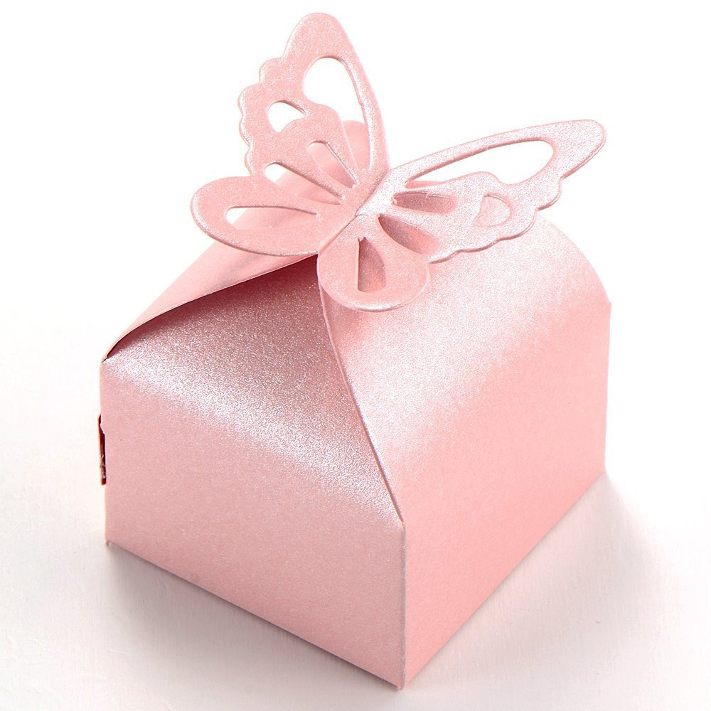 Amazon.com: Kslong 50pcs Boutique Butterfly Candy Box Decoration Dragees Wedding Gift Favor Boxes (Pink): Home & Kitchen
