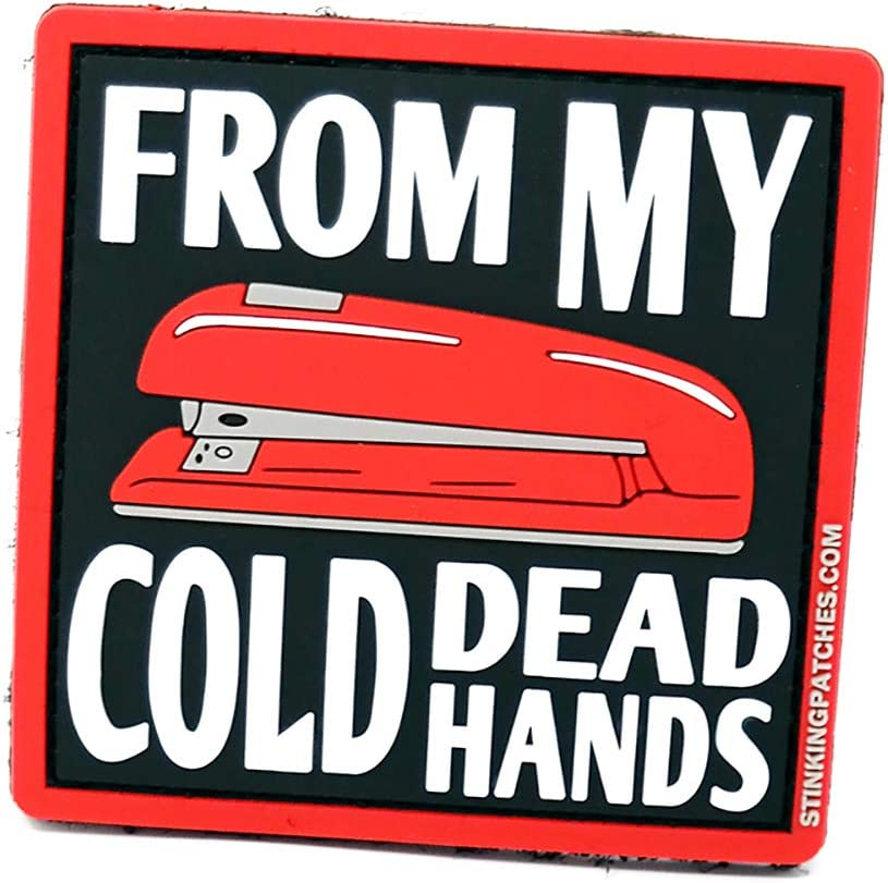 From My Cold Dead Hands Red Stapler PVC Tactical Patch | Office Space Inspired