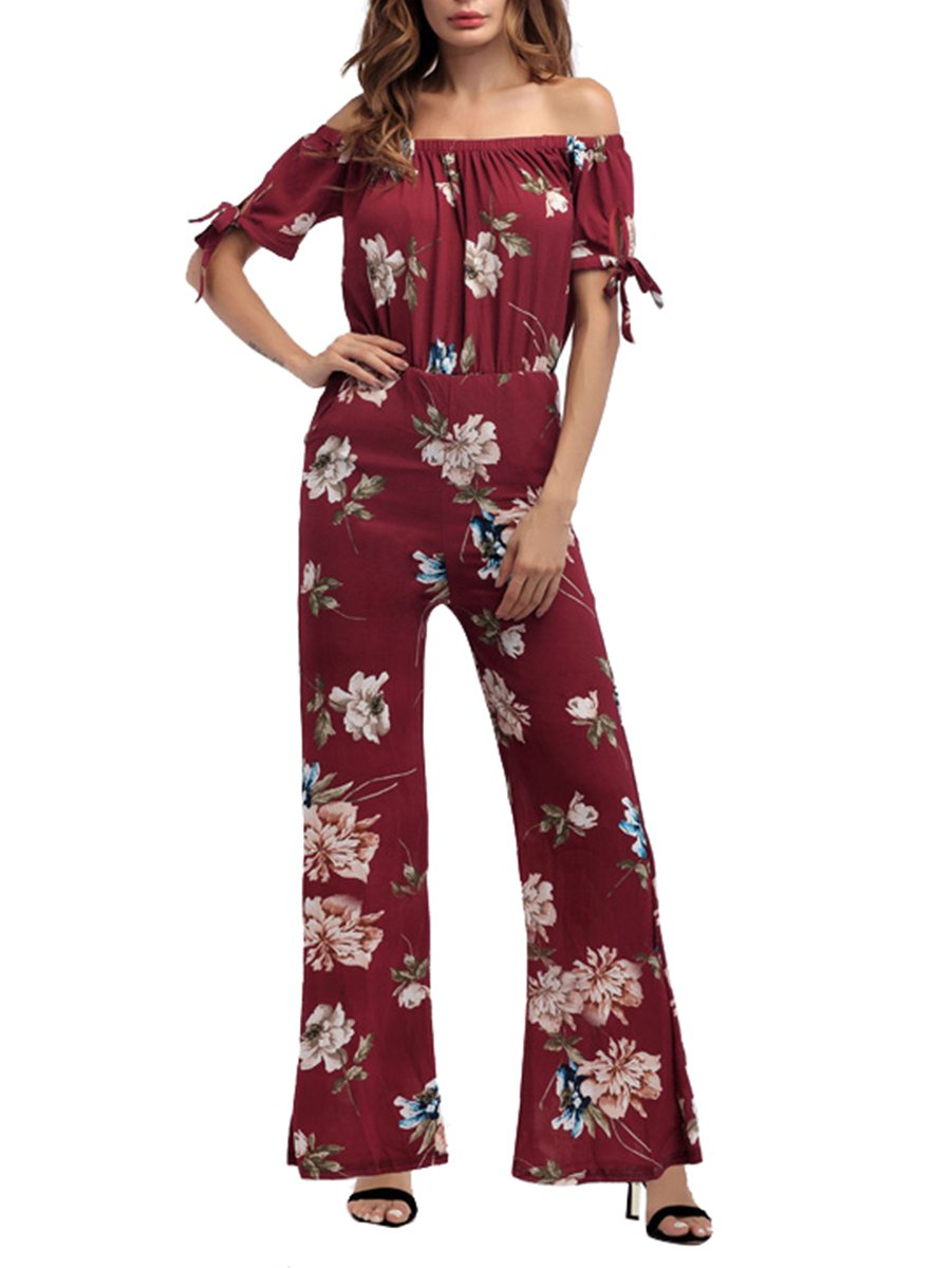 Womens Sexy Off Shoulder Floral Printed Cropped Wide Leg Party Jumpsuits Rompers with Pockets Red Flower XL