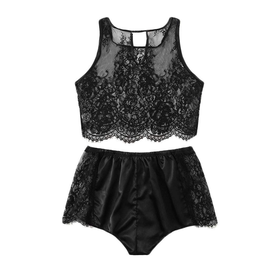 Womens Silk Sleepwear Satin Cami Shorts Sexy Nighty Pajama Sets Lace Trim Lingerie Black