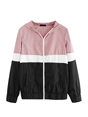 d118d17ed2d1 Floerns Women s Color Block Hooded Casual Thin Windbreaker Jacket Black Pink  XS