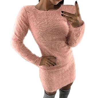 Vestido largo básico de manga larga de lana de invierno cálido de las mujeres Short Mini