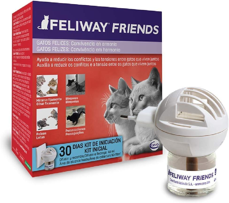 FELIWAY Friends - Anticonflictos para gatos - Peleas, Persecuciones, Bufidos, Bloqueos - Difusor + Recambio 48 ml