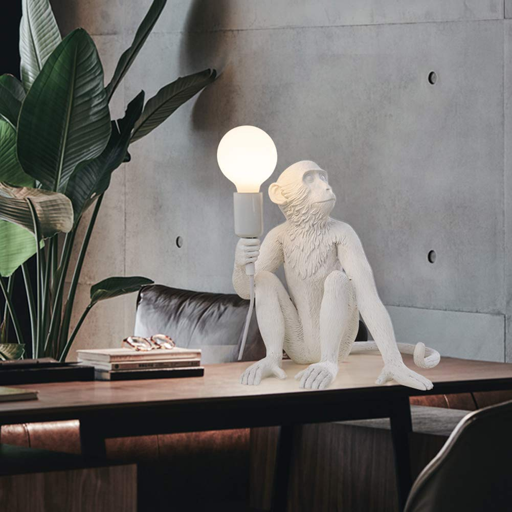 Office Decorative Study Lights for Living Room Bedroom Retro Sitting Upright Desk Light Unique Nordic Style Kids Reading 3 Colors to Choose WXGER Modern Monkey Table Lamp