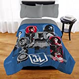N2 1 Piece Kids Red Blue Black Justice League Comforter Twin/Full, Squad of Heroes Bedding Movie Themed Batman Diana Prince Aquaman The Flash Superman Super Hero Pattern, Reversible Sherpa Polyester