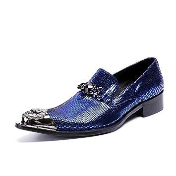 GLSHI Zapatos de Hombre Botines de Cuero de Invierno Botines de Moda Botas con Cordones Metálicos