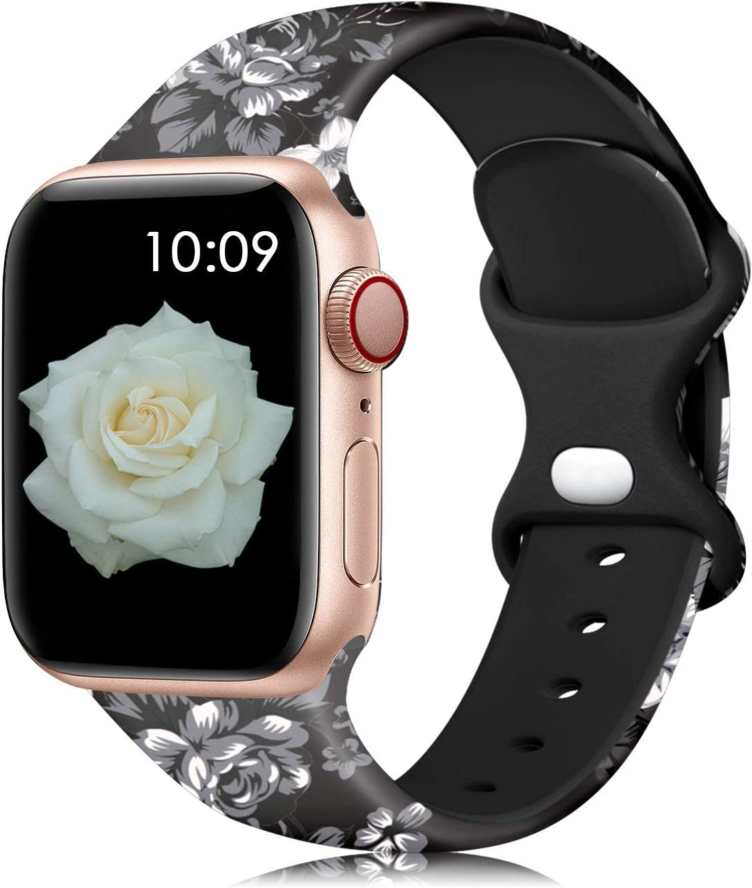 Lerobo Floral Bands Compatible with Apple Watch Band 40mm 38mm for Women Girls Men, Fadeless Cute Floral Pattern Printed Silicone Replacement Band for iWatch SE Series 6 5 4 3 2 1, Black Flower S/M