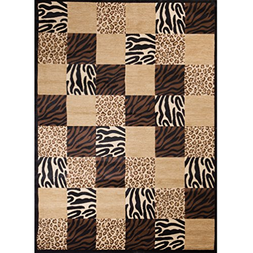 Tile Blocked Safari Design Area Rug, Patchwork Leopard Zebra Tigers Solid Patterned, Rectangle Indoor Hallway Doorway Living Area Bedroom Carpet, Rustic Animal Skin Themed, Tan, Brown, Size 5'3 x 7'3