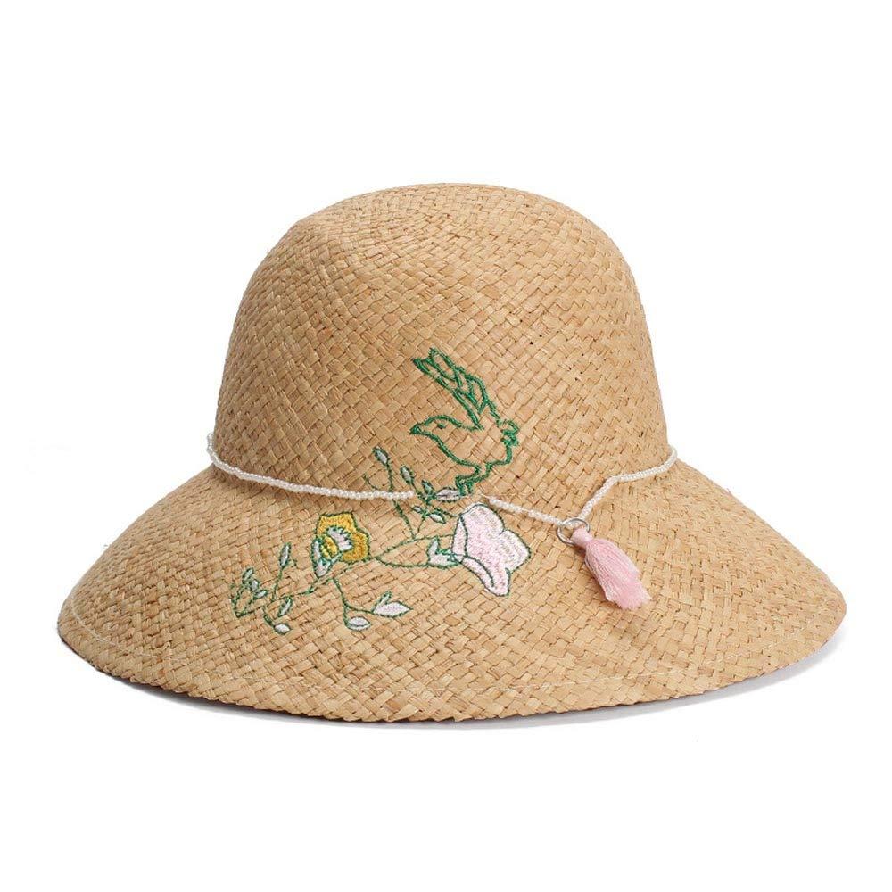 Hats Retro Sun Hat Lafite Summer Hat Visor Embroidery Flower /&Pearl Tassel Decorative Dome Hat Sunscreen Hat Cap GeorgeB