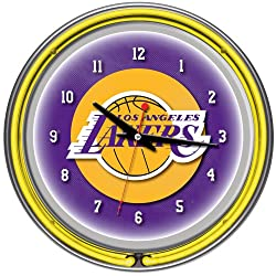 NBA Los Angeles Lakers Chrome Double Ring Neon Clock, 14