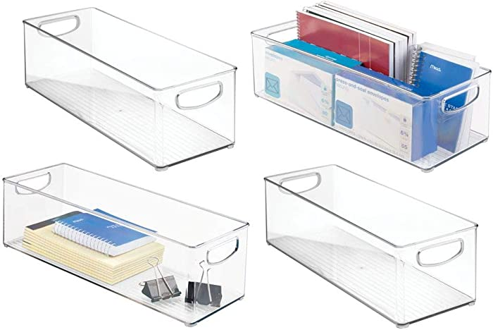 """mDesign Large Stackable Plastic Storage Bin Container, Home Office Desk and Drawer Organizer Tote with Handles - Holds Gel Pens, Erasers, Tape, Pens, Pencils, Markers - 16"""" Long, 4 Pack - Clear"""
