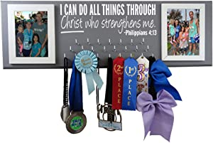 Wall Mounted Medal Holder and Hanger for Marathons, Track, Cross Country, 5K & 10K Runners - I Can Do All Things Through Christ Who Strengthens Me -Philippians 4:13
