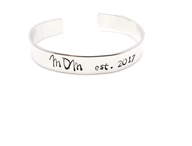 c02890d1dc432 Mom Established Est Custom Message Cuff Bracelet, Hand Stamped, Metal  Jewelry, Personalized Bracelet Customized Hand Stamped Cuff Bracelet, ...