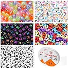 Letter Beads For Jewelry Making Alphabet Beads For Kids Kandi Beads 750 Pieces 5 Colors Bead Accessories For Jewelry Making With 2 Beading Cords