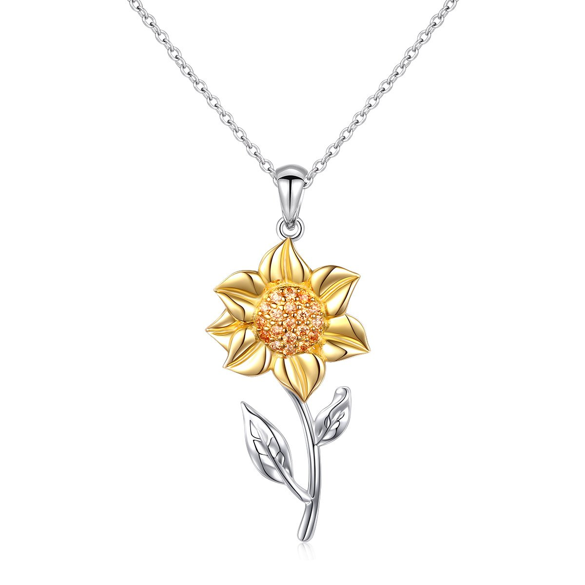 S925 Sterling Silver Sunflower with CZ Pendant Necklace Ring Earrings Bracelet Jewelry Set for Women 18''