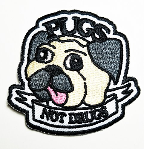 Pug Jacket - HHO Pugs Not Drugs patch Pugs Not Drugs cartoon Patch Embroidered DIY Patches, Cute Applique Sew Iron on Kids Craft Patch for Bags Jackets Jeans Clothes