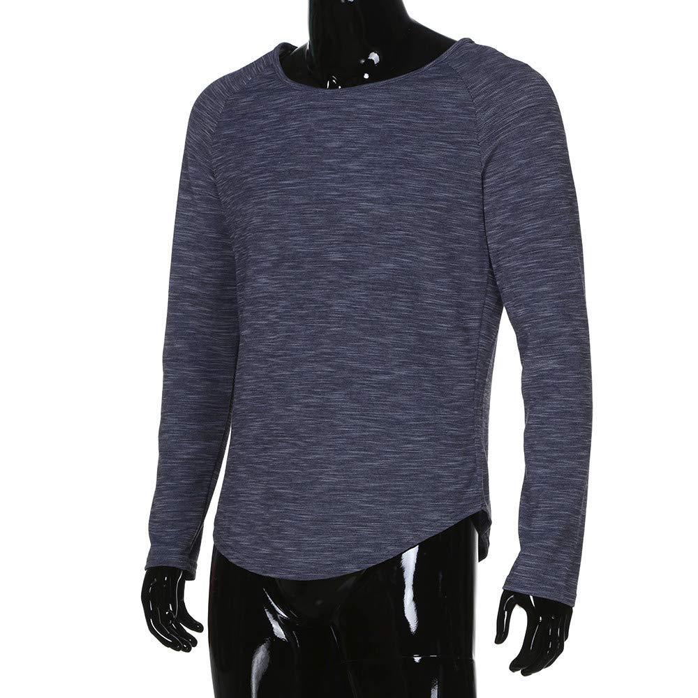 Amazon.com: IEason Men top Fashion Mens Slim Fit O Neck Long Sleeve Muscle Tee T-Shirt Casual Tops Blouse: Clothing