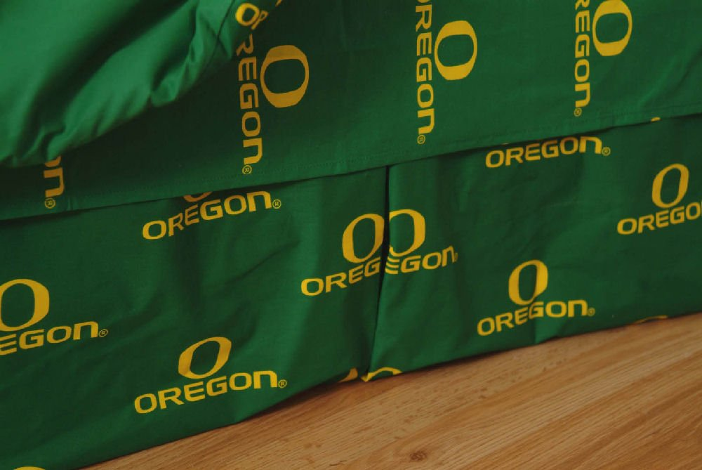 College Covers Oregon Ducks Printed Dust Fashions Ruffle - Queen