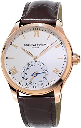 Frederique Constant Horological Smartwatch Mens Fitness Watch - 42mm White Face Swiss Quartz Smart Running Watch - Brown Leather Band Water Resistant ...