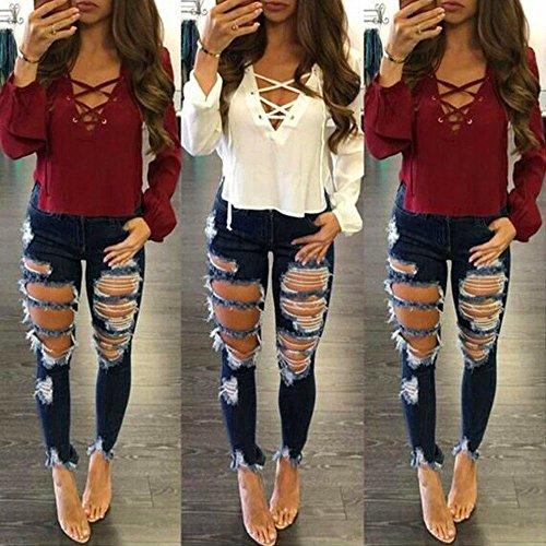 Matita 1312 Stretch Pantaloni Jeans A Lunghi Donna mambain Leggings Sottili Denim Strappato vAxTqqwIS