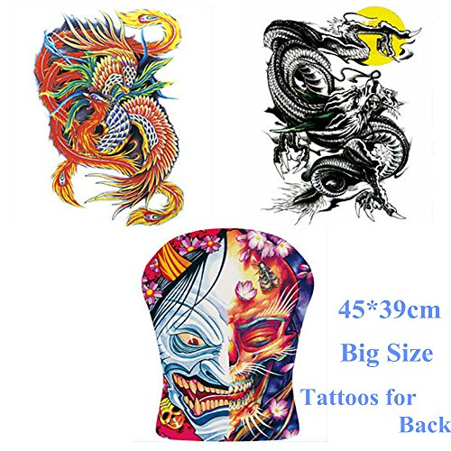 3 Sheets Men's Full Back Tattooes--Phoenix, Chinese Dragon, The Face of Good & Evil Totem Temporary Tattoo Sticker Decal Body Art Waterproof Fake for Men Chest, Back 45x39cm Big (Carnival Man With Direction Sign)