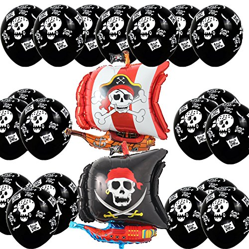Pirate Ship Boat Happy Birthday Party Supply Balloon Set