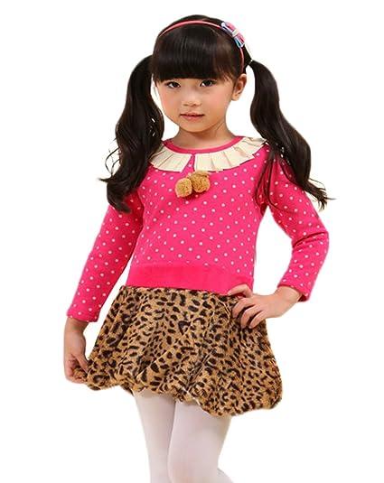 Farleen – Vestido Princesa leopardo mango de larga invierno – niño Niña 6 ~ 7 años